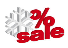 Winter sale. 3d red text sale and winter and Stock Photo