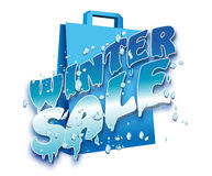 """Illustration of Winter sale logo. Artistic illustration of """"Winter sale""""  logo with uppercase  letters  decorated with icicles  and snow  overlying a blue Stock Image"""