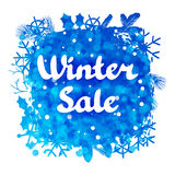 Winter sale abstract background design with. Snowflakes and snow stock illustration