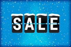 Winter sale analog flip text blue royalty free stock photos