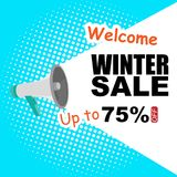 Winter Sale Announcement 75% Off Vector Image Royalty Free Stock Photo
