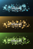 Winter sale. Autumn sale. Summer Sale. Background of multicolored lights. Glare bokeh. White, rectangular banners. Flying leaves o Royalty Free Stock Photos