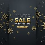 Winter sale background banner template design. With snowflake. Seasonal advertising for Christmas and Happy new year. Vector illustration Royalty Free Stock Photos