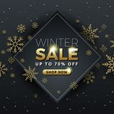 Winter sale background banner template design. With snowflake. Seasonal advertising for Christmas and Happy new year. Vector illustration Stock Image