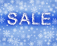 Winter sale. Background in blue colors Stock Photography