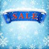 Winter sale background with BLUE realistic ribbon Stock Photo