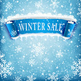 Winter sale background with BLUE realistic ribbon Royalty Free Stock Image