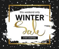 Winter sale background. Brush stroke with golden handwritten inscriptions. Vector banner. Stock Photos