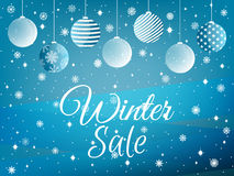 Winter sale. Background with Christmas balls and snowflakes. Vec Stock Images