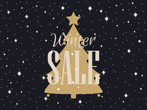 Winter sale background with Christmas tree and stars. Vector Stock Image