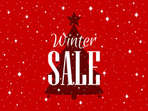 Winter sale background with Christmas tree and stars. Vector Royalty Free Stock Photography