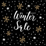 Winter sale background with handwritten text, doodle snowflakes. Stock Photo