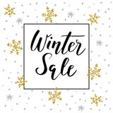 Winter sale background with handwritten text, golden doodle snowflakes and stars. Promotion business concept,  illustration, Stock Photo