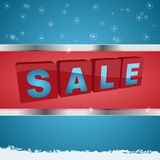 Winter sale background with metallic framed panel Royalty Free Stock Images