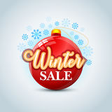Winter sale background on new year ball and snow. Sale. Winter sale. Christmas sale. New year sale. Vector illustration. Winter sale background on new year ball Stock Images