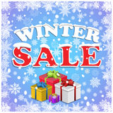 Winter sale background with red letters,gifts and snow Stock Images