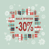 Winter sale background with red letters,gifts and snowflakes.  Vector illustration Royalty Free Stock Photos