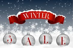 Winter sale background with red realistic ribbon banner and balls Stock Image