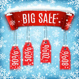 Winter sale background with red realistic ribbon. Banner and snow. Sale. Winter sale. Christmas sale. New year sale. Vector illustration Royalty Free Stock Images