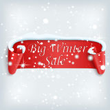 Winter sale background with red realistic ribbon. Banner and snow. Sale. Winter sale. Christmas sale. New year sale. Vector illustration Stock Images