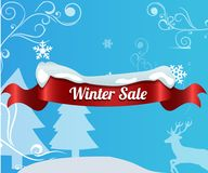 Winter sale background with red realistic ribbon banner. Vector illustration Stock Image