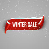 Winter sale background with red realistic ribbon. Winter poster or banner promotional design with snow. Vector discount vector illustration