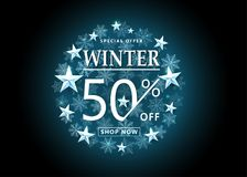 Winter sale background. Snowflakes in the shine round shape frame. Silver metal blue stars. Shopping text, 50 percent off. Vector illustration Stock Image