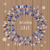 Winter sale background with trees and wood texture. Stock Photo