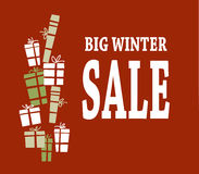 Winter sale background with white letters and gifts. Vector illustration Stock Photo