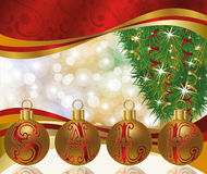 Winter sale background with xmas golden balls Stock Image