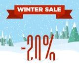 Winter Sale - Beautiful Forest, Winter Landscape, Flat, New Year, Vector Illustration. Winter Sale Badge - Beautiful Forest, Winter Landscape, Flat, New Year royalty free illustration