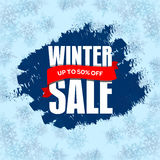 Winter sale badge, label, promo banner template. Up to 50% OFF d Stock Image