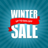 Winter sale badge, label, promo banner template. Up to 50% OFF discount sale offer. Vector illustration Royalty Free Stock Photography