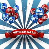 Winter sale balloons and discounts background Stock Image
