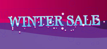 Winter Sale Banner. Winter Sale text on banner or sign with snow royalty free stock photos