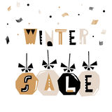 Winter Sale banner, background with sale text and Christmas decorations. Vector Illustration. Winter Sale banner, background with sale text and Christmas Stock Photos