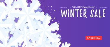 Winter sale banner background template with snowflakes and snow. Winter sale banner background template with snowflakes and snow vector illustration