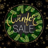 Winter sale banner. Background with tree branches and snowflakes. Vector. Winter sale banner. Background with tree branches and snowflakes Royalty Free Stock Image