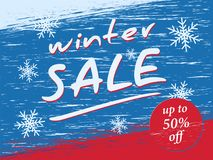Winter sale. Banner on a winter background. Vector illustration of grunge style Royalty Free Stock Photos