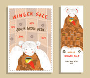 Winter sale banner with cute girl Stock Photos