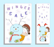 Winter sale banner with cute girl Stock Photo