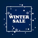 Winter sale banner design for promotion with shopping icons. Royalty Free Stock Photos