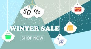 Winter sale banner design for promotion with shopping icons. Vector illustration Stock Photos
