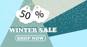 Winter sale banner design for promotion with shopping icons. Vector illustration Stock Photography