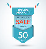 Winter sale banner. Discount label. Christmas and New Year sale tag. Special offer vector template. Up to 50 percent off badge. Half price colorful sticker Stock Photos