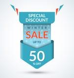 Winter sale banner. Discount label Stock Photos