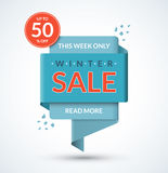 Winter sale banner. Discount label. Christmas and New Year sale tag. Special offer vector template. Up to 50 percent off badge. Half price colorful sticker Royalty Free Stock Image