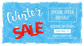 Winter sale banner, flyer template in frame with blue snowflakes background, Snow frame. Special seasonal offer. Big Sale. Hand lettering inscription. Snow on Stock Photos