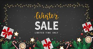 Winter sale banner, flyer template in frame from a garland. Special seasonal offer. Big Sale. Fir branches, paper gifts boxes, cup. Of coffee, cookies, sweets Stock Photo
