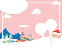 Winter sale banner, landscape illustration with clouds and snowflakes, Santa Claus, firs-tree and Christmas toys. Pink background vector illustration